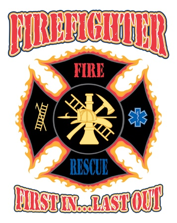 Firefighter First In Design is an illustration of a flaming firefighter cross with symbols for firefighting and rescue services.