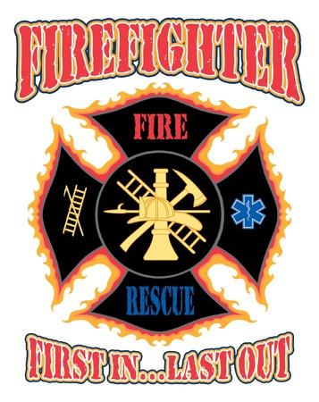 Firefighter First In Design is een illustratie van een vlammend brandweerman kruis met symbolen voor brandweer-en reddingsdiensten.