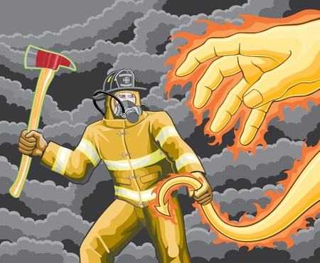 Firefighter Fights Fire Demon is an illustration of a firefighter fighting a demon made of fire. Иллюстрация