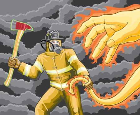 Firefighter Gevechten Fire Demon is een illustratie van een brandweerman de bestrijding van een demon gemaakt van vuur.
