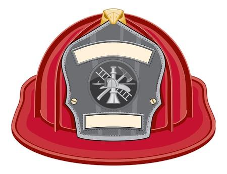 Rojo de casco de bombero es una ilustración de un casco de bombero rojo o sombrero de bombero de frente con un bombero herramientas logotipo. Logos