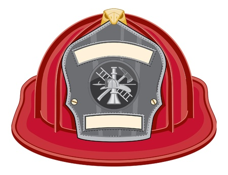 bombero de rojo: Rojo de casco de bombero es una ilustración de un casco de bombero rojo o sombrero de bombero de frente con un bombero herramientas logotipo.