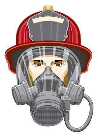 マスクを持つ消防士は、マスクと消防士の頭のイラストです。