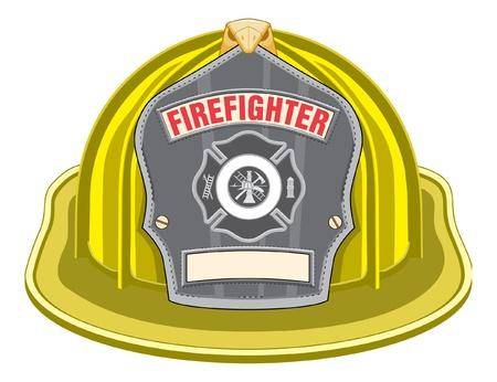Firefighter Helm Geel is een illustratie van een gele helm of brandweerman brandweerman hoed van de voorzijde met een brandweerman gereedschap logo. Stock Illustratie