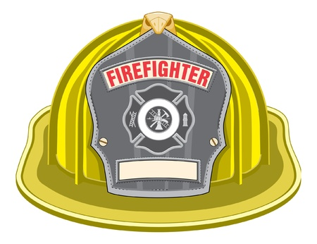 fire helmet: Firefighter Helmet Yellow is an illustration of a yellow firefighter helmet or fireman hat from the front with a firefighter tools logo.