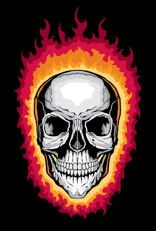 fire skull: Human Skull with Flames is an illustration of a stylized flaming human skull. Illustration