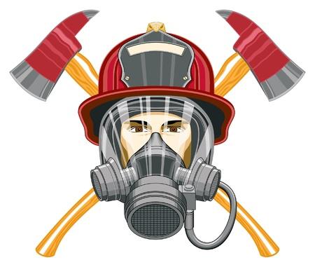 Brandweerman met masker en Assen is een illustratie van het hoofd van een brandweerman met een masker op en bijlen achter hem. Stock Illustratie