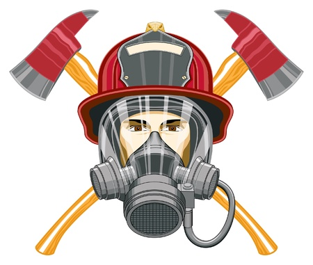 fireman helmet: Firefighter with Mask and Axes is an illustration of the head of a firefighter with a mask on and axes behind him.