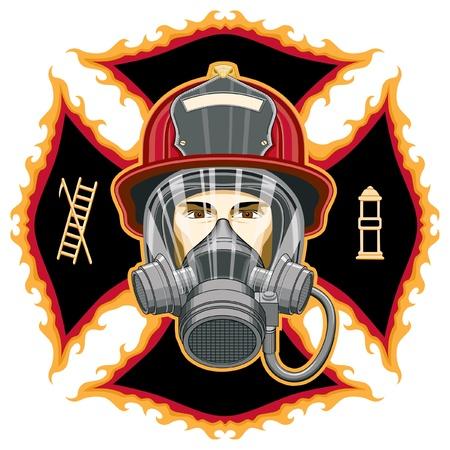 마스크와 도끼와 소방관은 십자가 앞에서 헬멧과 마스크와 소방관의 머리의 그림입니다.