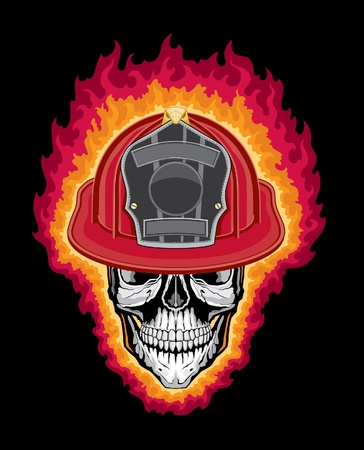 fireman helmet: Flaming Firefighter Skull and Helmet is an illustration of a flaming stylized human skull wearing a firefighter helmet.