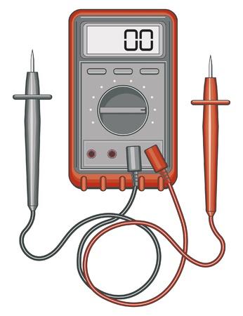 デジタルマルチメータの図。また、メジャーを電圧、電流、抵抗するために使用ボルトオーム計として知られています。  イラスト・ベクター素材