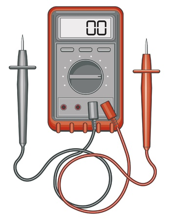 current: Multimeter illustration. Also known as a voltohm meter used to measure to measure voltage, current and resistance. Illustration