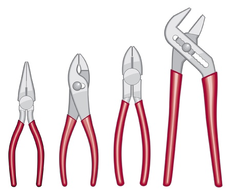 Pliers Illustration includes four types of plyers with red handles Stock Vector - 11004801