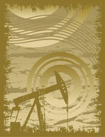 Oil Rig Grunge Illustration Ilustracja