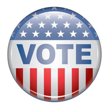 verkiezingen: Stem Button is een illustratie van een Amerikaanse verkiezingscampagne knop bevordering van het recht en zal om te stemmen.