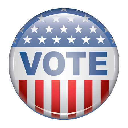 Vote Button is an illustration of a United States election campaign button promoting the right and will to vote. Vector