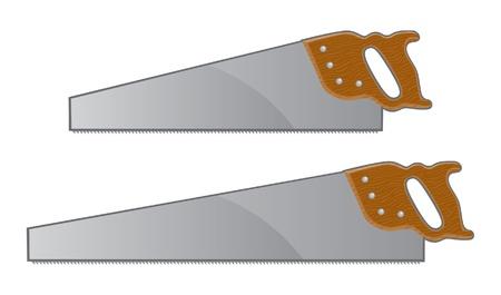 手鋸の図。木のハンドルと 2 つの手のこぎり。  イラスト・ベクター素材
