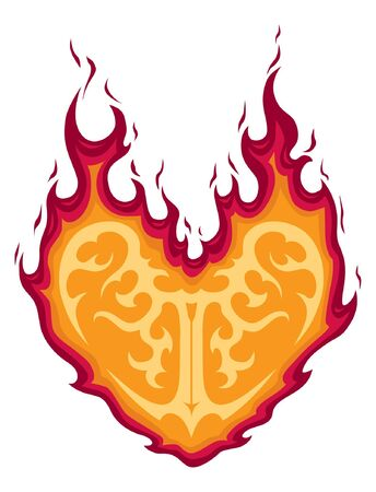 Flaming Heart tattoo illustration.