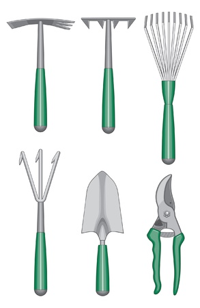 hoe: Gardener Hand Tools is an illustration of gardeners or landscapers hand tools including hoes, rakes, shovel, and shears.