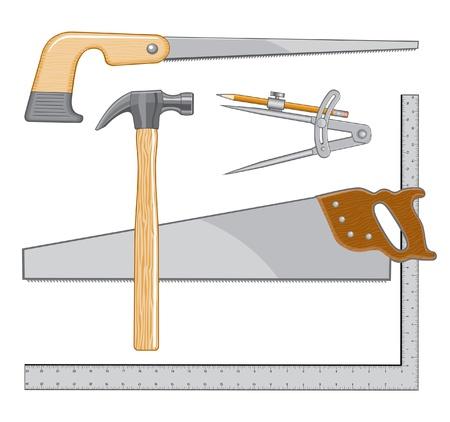 大工のツールのロゴは、大工や修理のためにロゴとして使用することができます、図です。  イラスト・ベクター素材