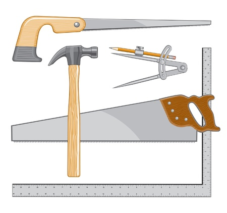 square cut: Carpenters Tool logo is an illustration that can be used as a logo for carpenter or repairman.