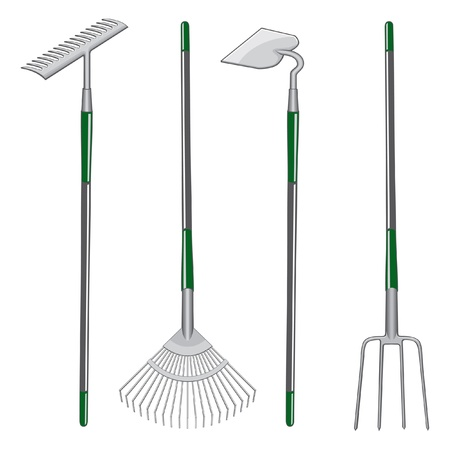 Rakes Hoe and Pitchfork is an illustration of two types of rakes, one hoe and one pitchfork.