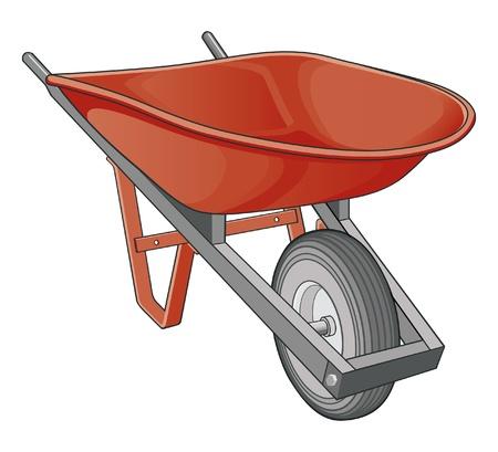 Kruiwagen is een illustratie van een kruiwagen die op een witte achtergrond.