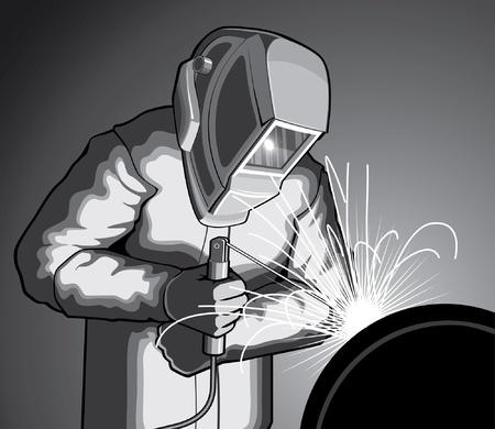soldador: Soldador en el trabajo es una ilustración de un soldador soldadura. Vectores