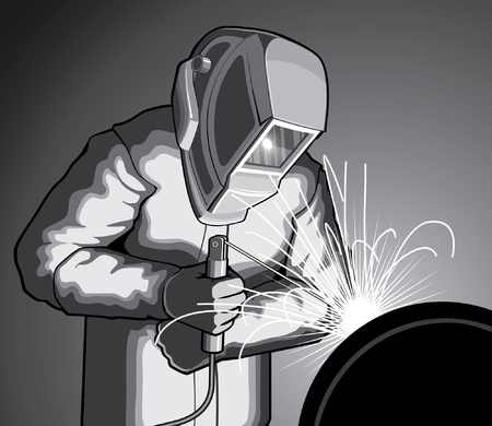 Welder at work is an illustration of a welder welding. Illustration