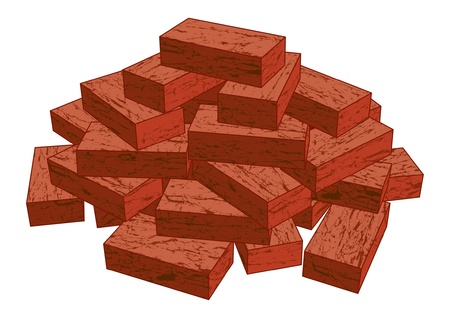 building bricks: Bricks is an illustration of a stack of red bricks isolated on a white background. Illustration