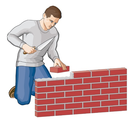 trowel: Bricklayer is an illustration of a man building a brick wall. Illustration