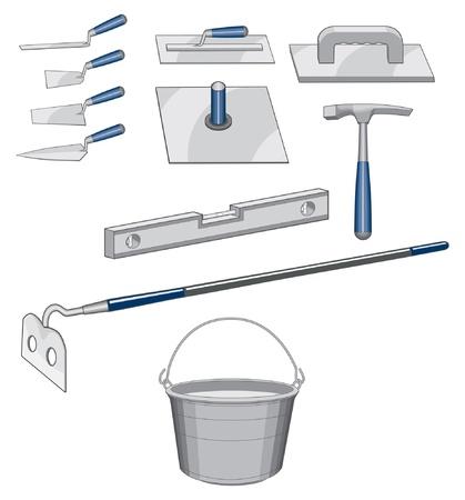 煉瓦工の石積みのツールは煉瓦または石工の仕事のために使用するツールのイラストです。