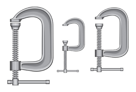 compress: C-Clamp is an illustration of three sizes of C-Clamps.