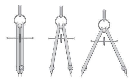 Drawing Compass is an illustration of a compass used for drawing and drafting. Illustration