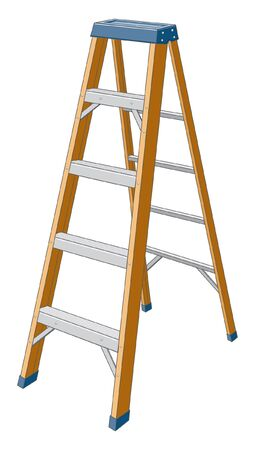 step by step: Step ladder is an illustration of a step ladder. Illustration