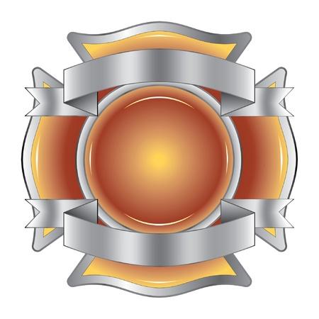 Firefighter Cross met linten is een illustratie van een brandweerman Maltezer kruis gemaakt van edelsteen met zilver linten aan de boven-en onderkant.
