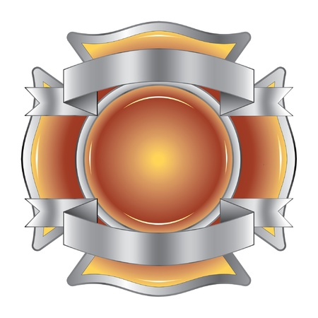 Firefighter Cross with Ribbons is an illustration of a firefighter Maltese cross made of gemstone with silver ribbons at the top and bottom. Vector