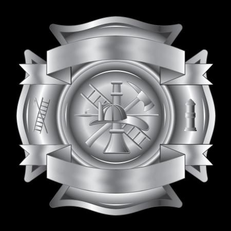소방 크로스은 도끼, 걸이, 사다리, 소화전, 노즐과 소방관 헬멧 등의 소방 도구와 실버 소방 몰타 크로스의 그림입니다.