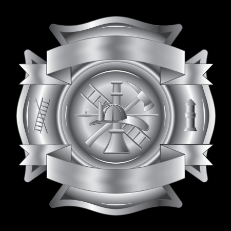Firefighter Cross Silver is an illustration of a firefighter Maltese cross in silver with fireman tools including axe, hook, ladder, hydrant, nozzle and firefighters helmet.