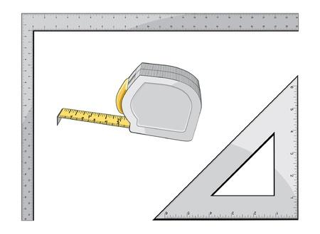 巻尺の正方形と三角形は、巻尺、正方形と建設、大工仕事を測定するための三角形の使用のイラストです。