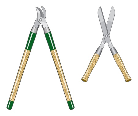 prune: Garden Loppers and Clippers is an illustration of two types of gardens loppers or clippers.