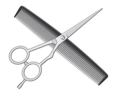はさみ: 櫛とはさみの理髪店やスタイリストが使用するはさみそして櫛のロゴの図です。