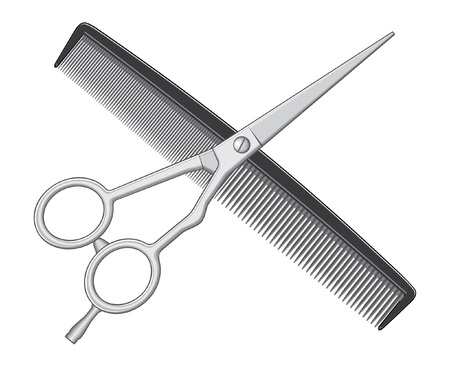 peine: Tijeras y peine es una ilustración de tijeras y peine logo utilizado por los barberos y peluqueros. Vectores