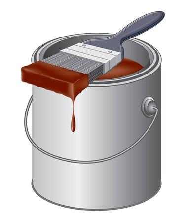 絵筆と塗装図のバケツ。  イラスト・ベクター素材