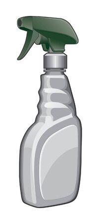 스프레이 병은 녹색과 흰색 스프레이 병의 그림입니다.