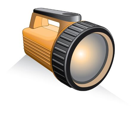 Flashlight is an illustration of a yellow and black flashlight. Vectores