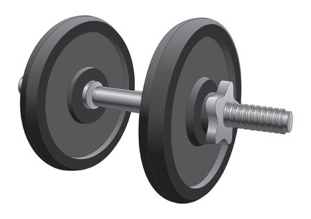 cast iron: Dumbbell is an illustration of a single dumbbell used in weight lifting and fitness workouts.