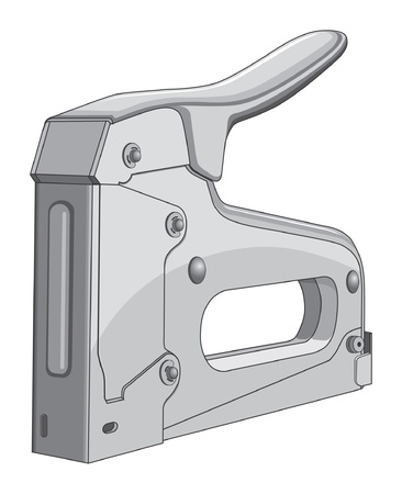 staple gun: Stapler is an illustration of a heavy duty construction stapler.