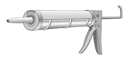 caulk: Caulk Gun is an illustration of a caulk gun used in construction and home repair.