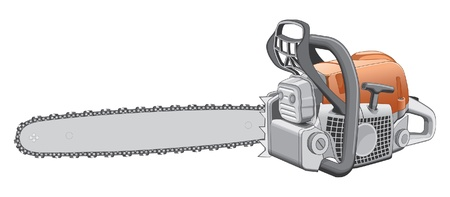 sawyer: Chainsaw is an illustration of a heavy duty chainsaw used to cut and trim trees and firewood.